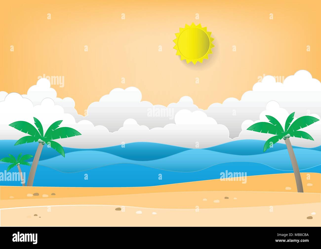 Summer Beach Background With Palm Tree Paper Craft Recycle Digital
