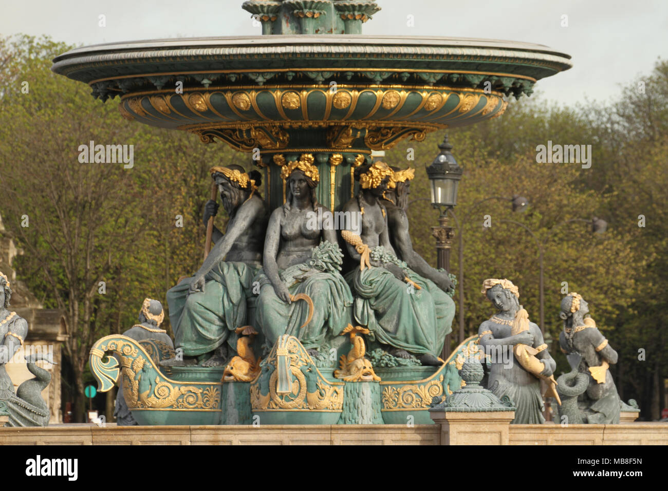 Paris, France -  04 April, 2018. The Fontaines de la Concorde, one of two with the Obelisk of Luxor and Eiffel Tower seen on the background. General view of Paris, France. @ David Mbiyu/Alamy Live News - Stock Image