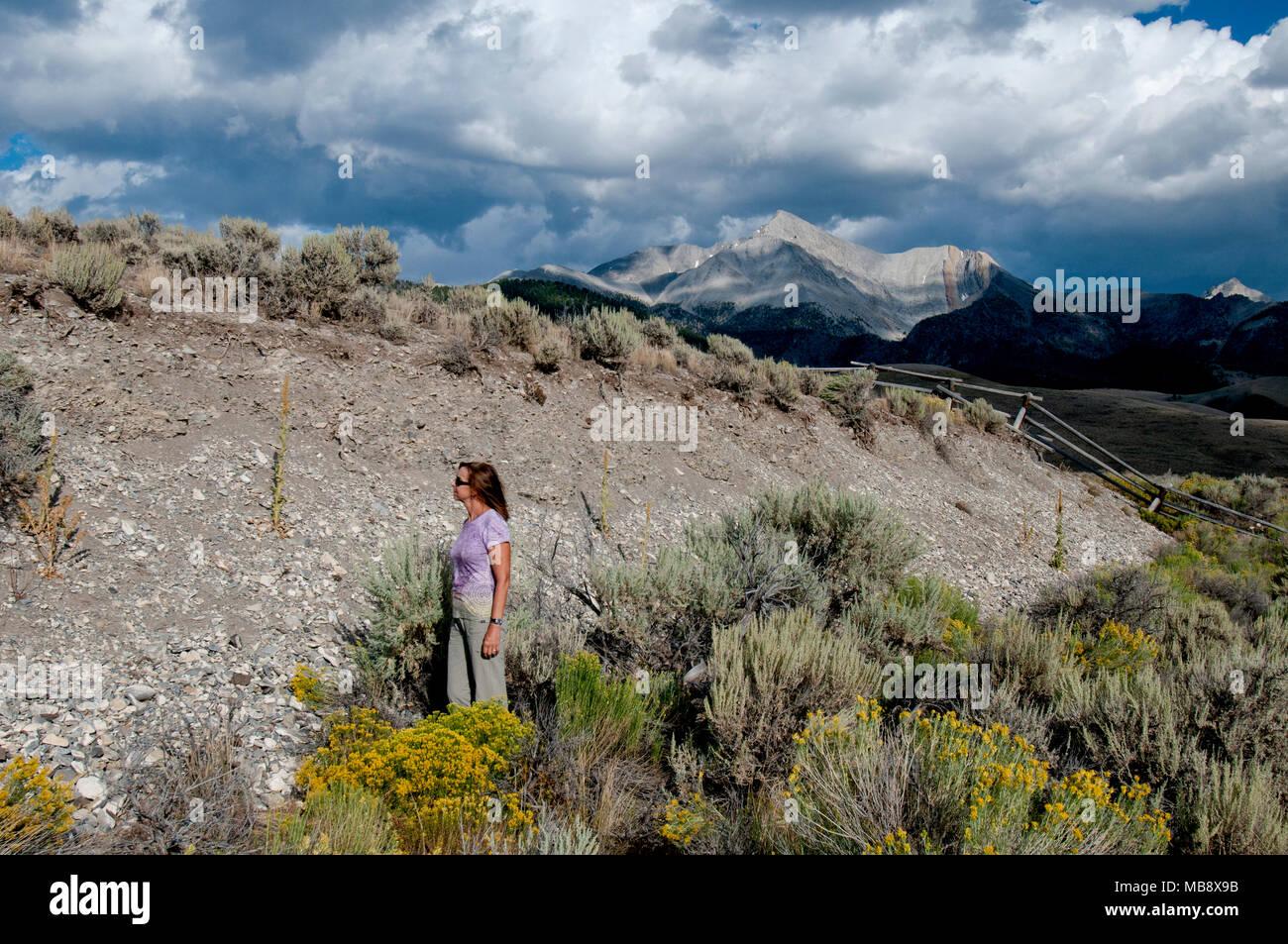 Mount Borah 21-mile-long earthquake scarp with Mount Borah in the background  (MR) - Stock Image