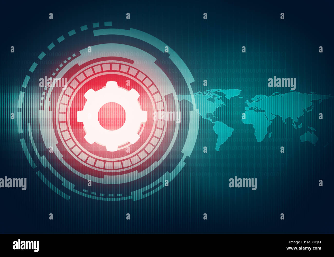 Abstract digital concept touch screen interface with gear icon on abstract digital concept touch screen interface with gear icon on circuit element and world map for branding graphic design wallpaper gumiabroncs Images