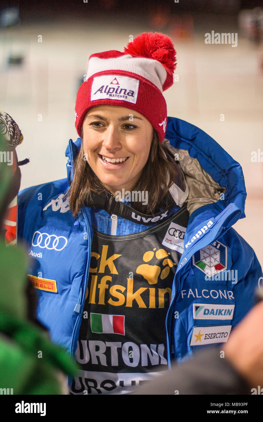 20 December 2017, Courchevel, Savoie, France, Irene Curtoni of Italy 3rd place at the Parallel Slalom of Courchevel Ladies Ski World Cup 2017 - Stock Image