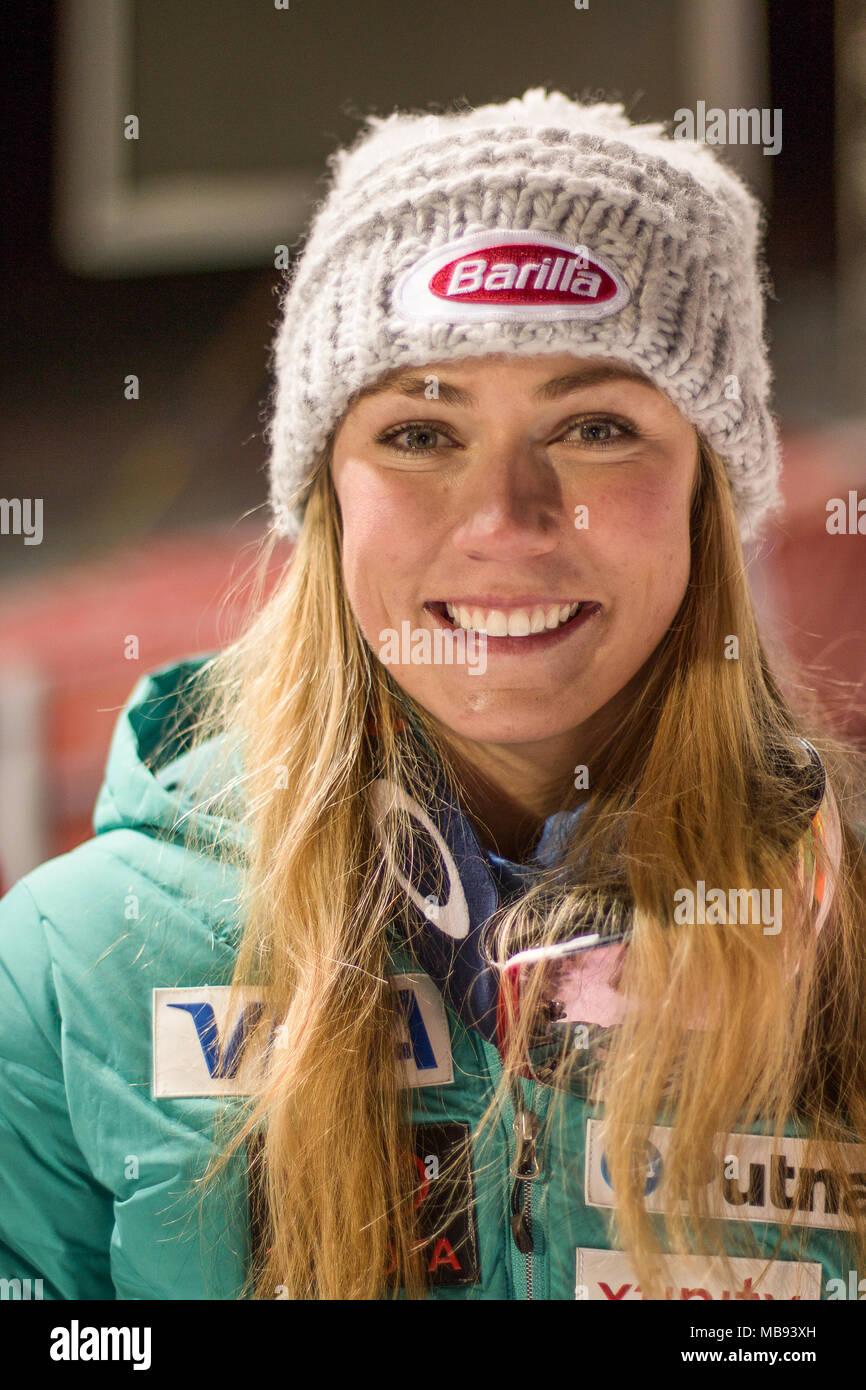 20 December 2017, Courchevel, Savoie, France, portrait Mikaela Shiffrin of Usa winner of the  Parallel Slalom of Courchevel Ladies Ski World Cup 2017 - Stock Image