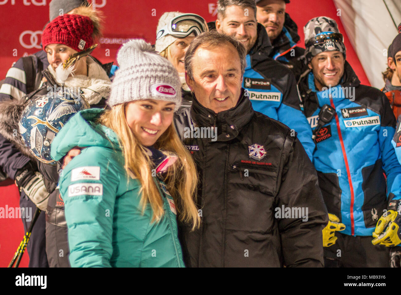 20 December 2017, Courchevel, Savoie, France, Mikaela Shiffrin of Usa winner of Ski World Cup with Philippe Mugnier maire of St. Bon Courchevel - Stock Image