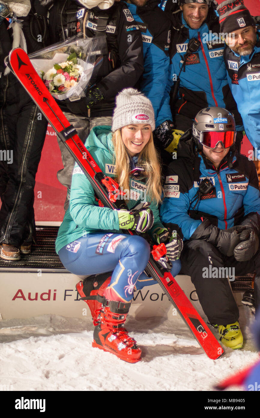 20 December 2017, Courchevel, Savoie, France, Mikaela Shiffrin of Usa winner of the  Parallel Slalom of Courchevel Ladies Ski World Cup 2017 - Stock Image