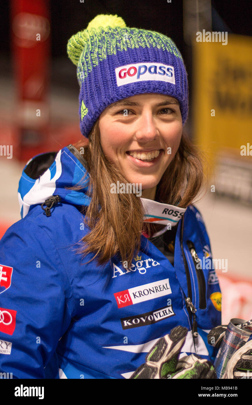 20 December 2017, Courchevel, Savoie, France, Petra Vlhova of Slovakia 2nd place at the Parallel Slalom of Courchevel Ladies Ski World Cup 2017 - Stock Image