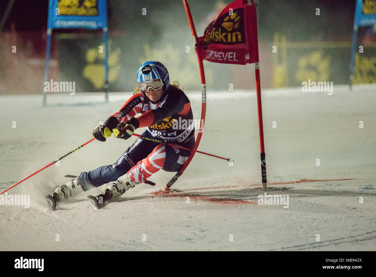 20 December 2017 Alex Tilley of Scotland Great Britain Competing in the Parallel Slalom of Courchevel Ladies Ski World Cup 2017 - Stock Image