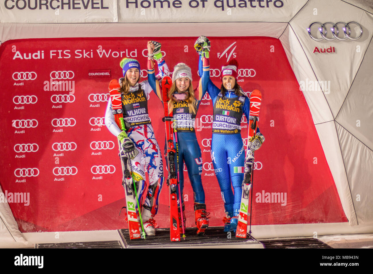 20 December 2017, Courchevel, Savoie, France, Mikaela Shiffrin of Usa winner of the  Parallel Slalom of Courchevel Ladies Ski World Cup podium present - Stock Image