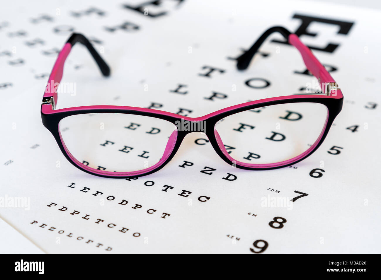 Glasses On A Eye Exam Chart To Test Eyesight Accuracy Stock Photo