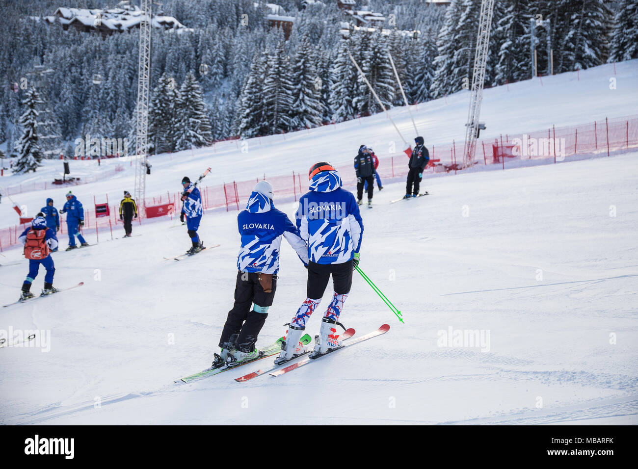 Petra Vlhova in Courchevel course inspection with her coach prior to the Giant Slalom Ski World Cup the 20th of December 2017 - Stock Image