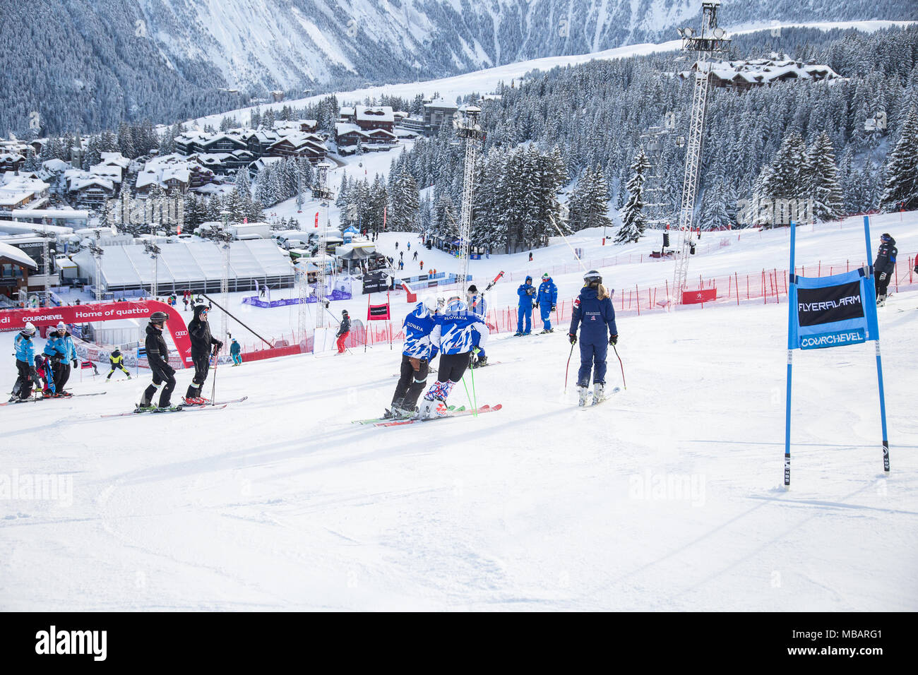 A view over Courchevel 1850 during the course inspection of the Audi Fis Alpine Ski World Cup Courchevel 2017 Ladies GS Women's Giant Slalom alpine sk - Stock Image
