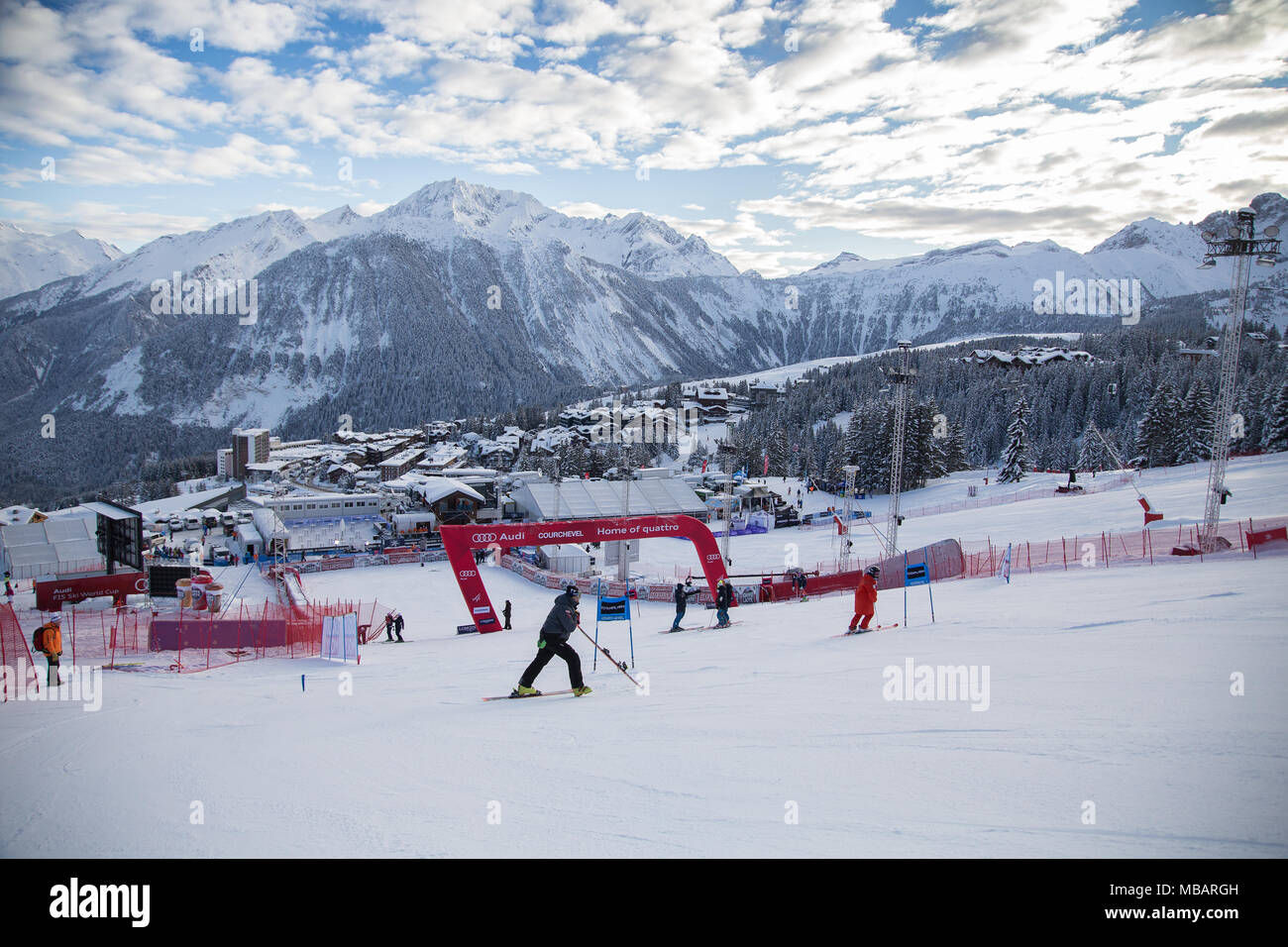 The slalom stadium of Courchevel 1850 during the course inspection of the Audi Fis Alpine Ski World Cup Women's Giant Slalom on the 20th Dcember 2017 - Stock Image