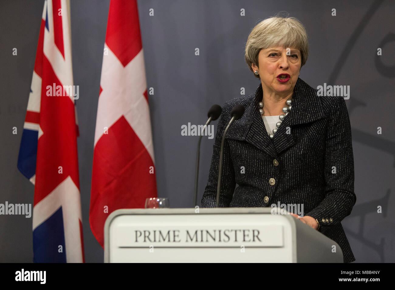 Copenhagen, Denmark - April 09, 2018: British Prime Minister Theresa May visits Danish Prime Minister Lars Loekke Rasmussen in Copenhagen, Denmark, to discuss the poisen attack in Salisbury, England, and Brexit. Credit: OJPHOTOS/Alamy Live News - Stock Image