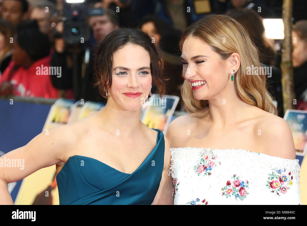 London, UK. 9th Apr, 2018. Jessica Brown Findlay, Lily James, The Guernsey Literary and Potato Peel Pie Society - World Premiere, Curzon Mayfair, London UK, 09 April 2018, Photo by Richard Goldschmidt Credit: Rich Gold/Alamy Live News - Stock Image