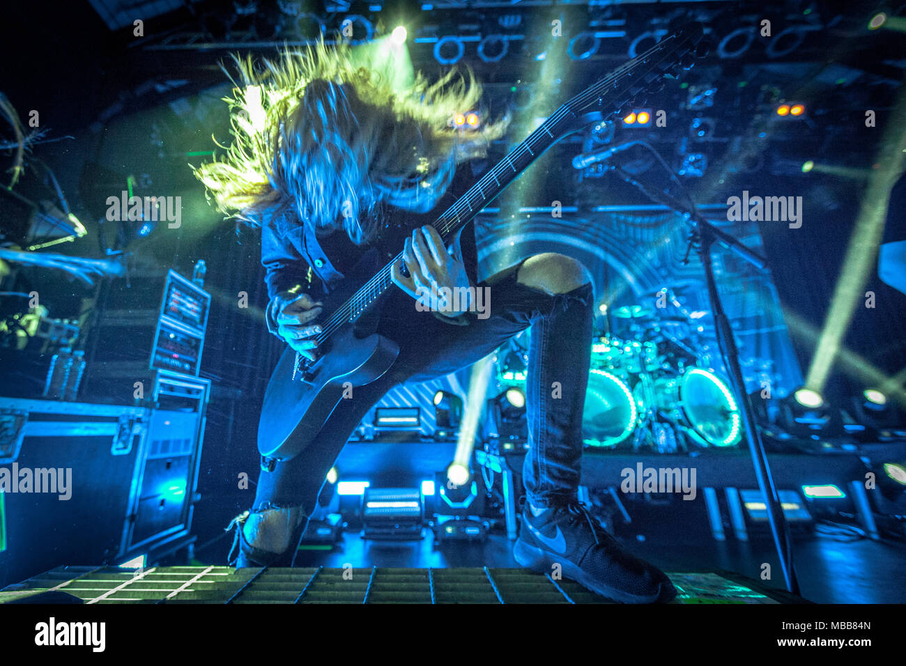 Copenhagen, Denmark. 9th Apr, 2018. The American metalcore band Of Mice and Men performs a live concert at Pumpehuset in Copenhagen. Here guitarist Alan Ashby is seen live on stage. (Photo credit: Gonzales Photo - Thomas Rasmussen). Credit: Gonzales Photo/Alamy Live News - Stock Image