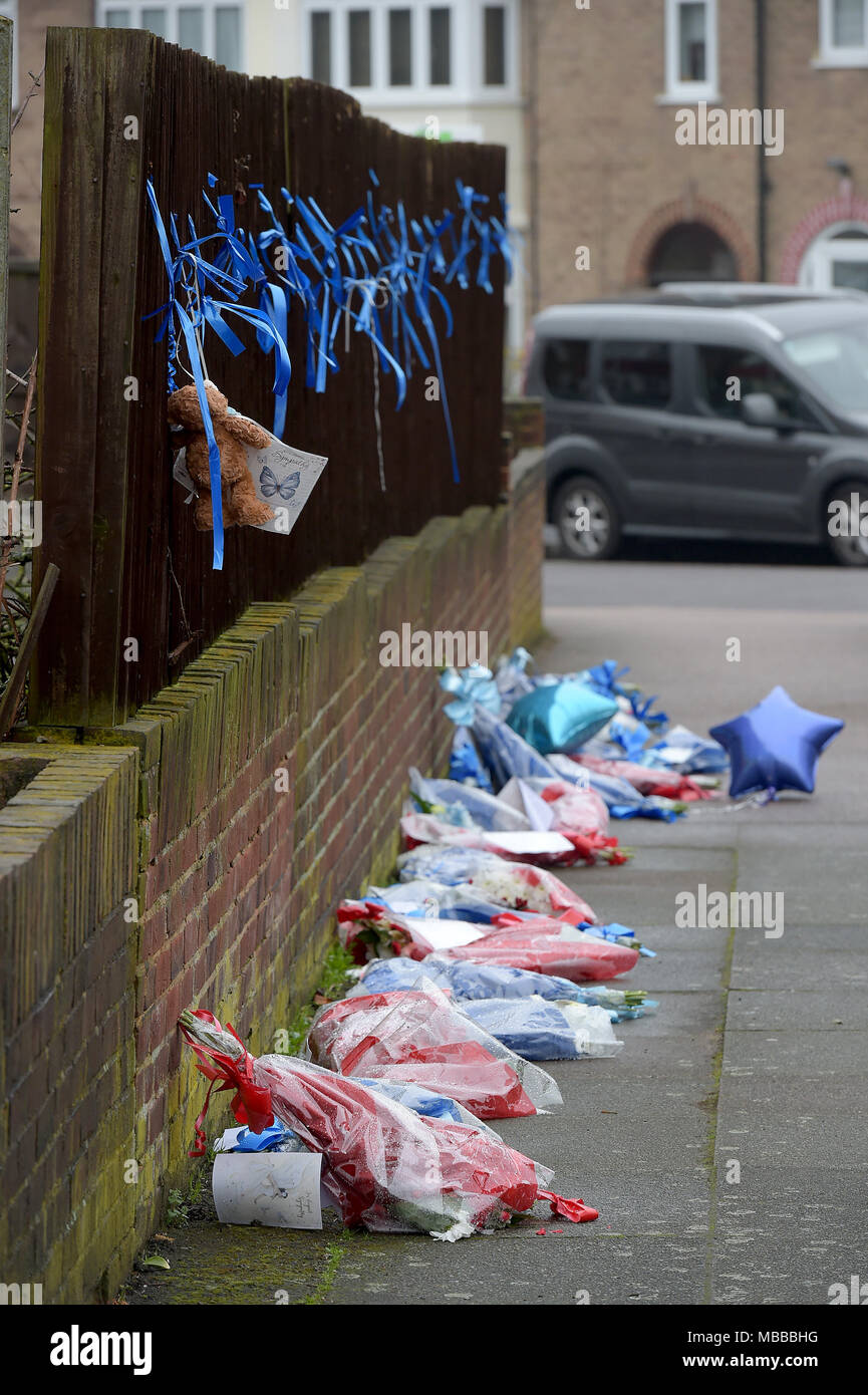Hither Green, South London, UK. 10th April 2018. Floral tributes to Henry Vincent killed by Richard Osborn-Brooks torn down overnight in Hither Green South London. Credit: MARTIN DALTON/Alamy Live News - Stock Image