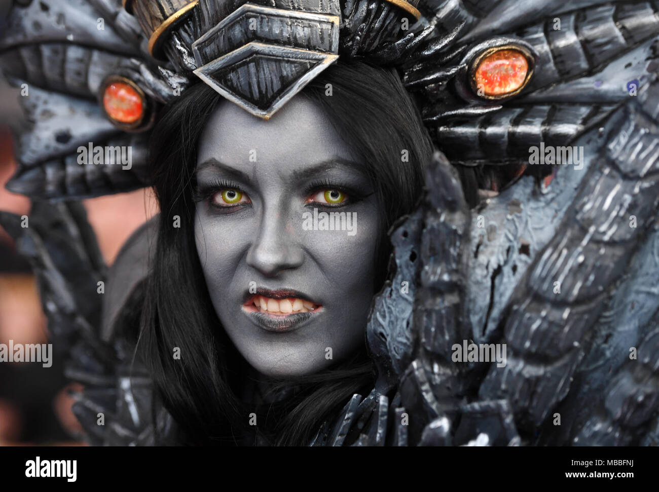 Germany, Munich10 April 2018, Germany, Munich: A dressed-up actress in her roal as Sinestra of the computer game 'World of Warcraft' at the Deutsche Computerspielpreis (German computer games award). Photo: Tobias Hase/dpa Credit: dpa picture alliance/Alamy Live News - Stock Image