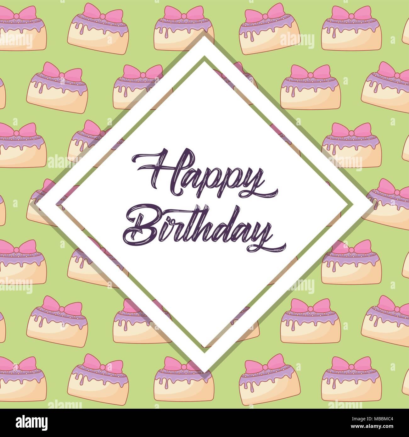 Happy birthday design with decorative rhombus frame over birthday ...