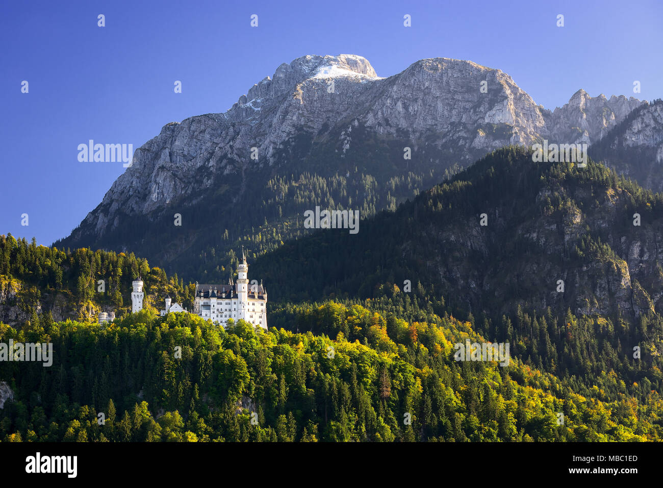 Beautiful Neuschwanstein Castle with scenic mountain landscape near Fussen, Bavaria, Germany - Stock Image