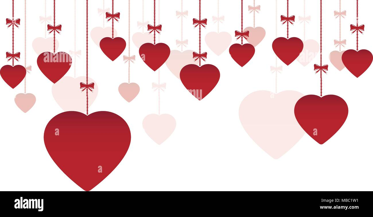 Happy Valentine S Day Ornaments Hanging With Red Hearts Stock Vector