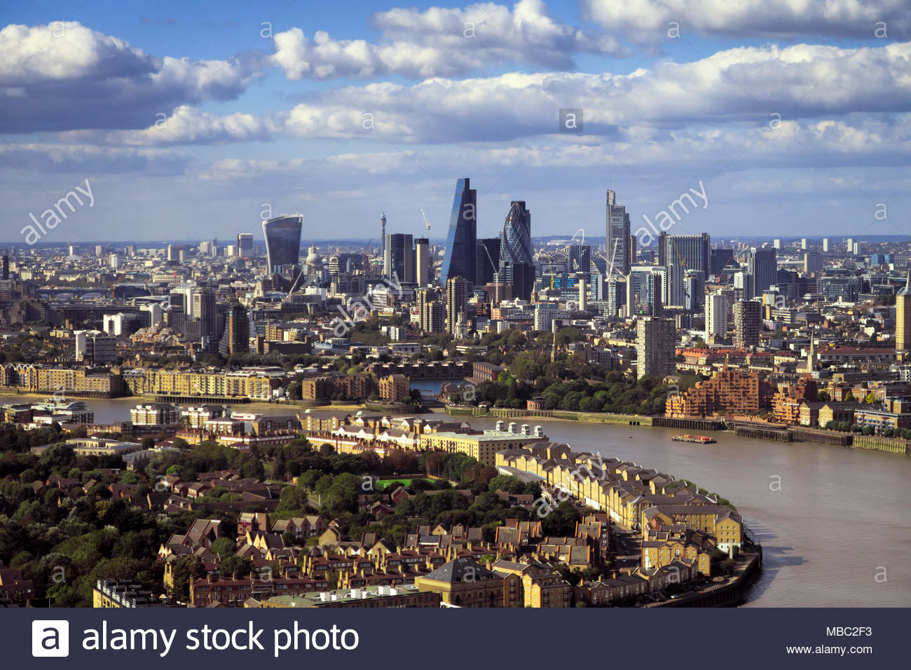 London view during sunny day with bank district, amazing skyscrapers and Thames river, United Kingdom - Stock Image