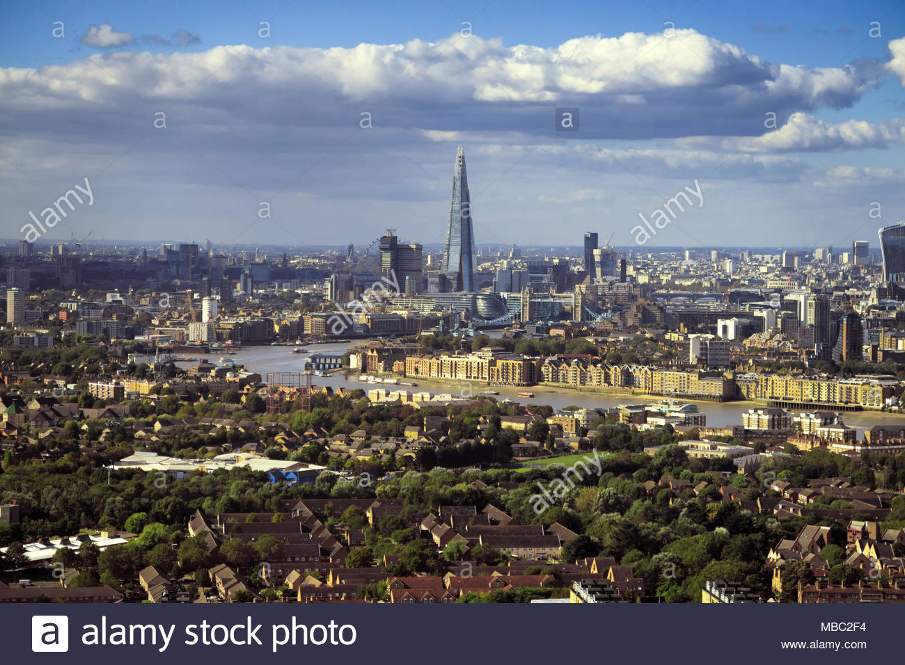 London view during sunny day with bank district, amazing skyscraper Shard and Thames river, United Kingdom - Stock Image