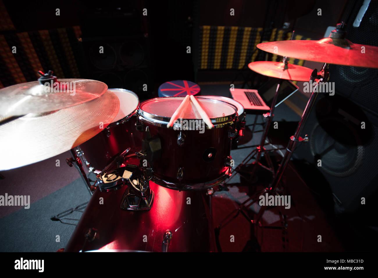 Drum Set On Stage Stock Photo 179130713 Alamy