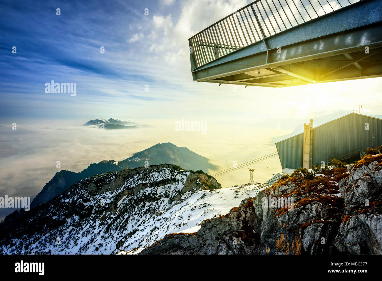 Panoramic view of beautiful winter mountain landscape. Observation platform Alpspix at Alpspitz mountain near Zugspitze. Germany - Stock Image