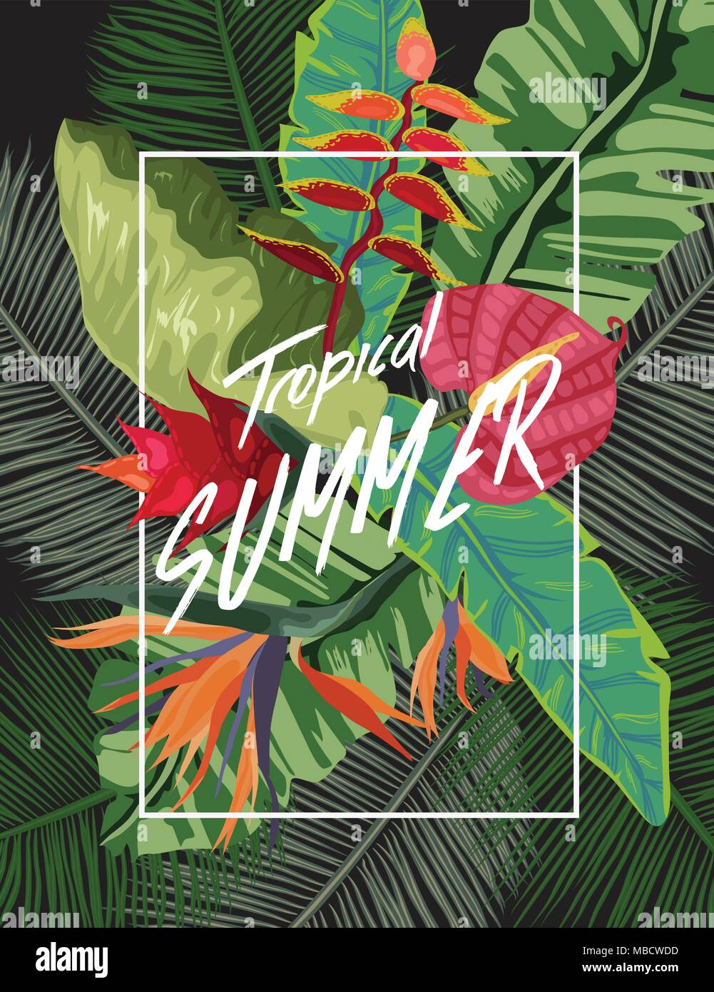 bright tropical background with jungle plants exotic pattern with