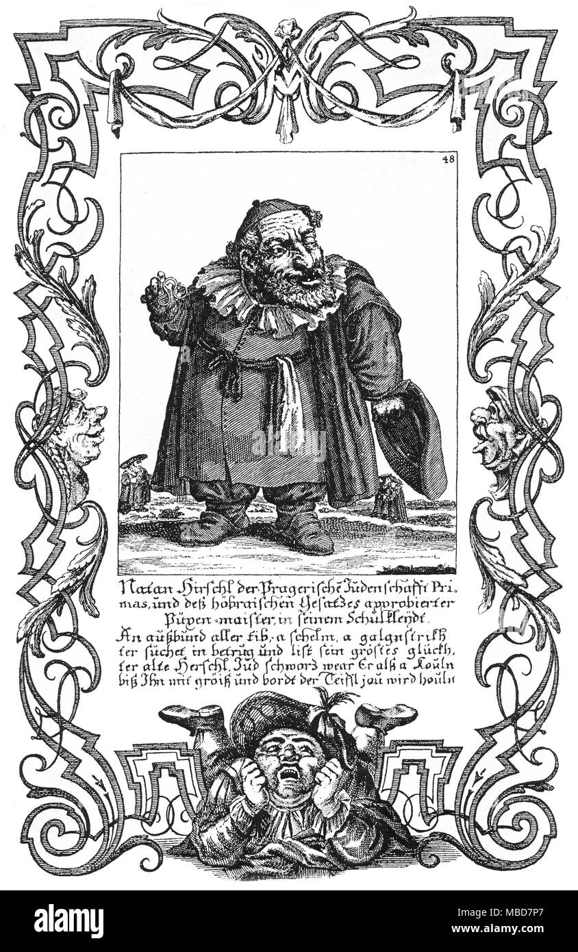 JEWISH MYTHOLOGY  The typus of the anti-Jewish deceitful Jew.  Copperplate engraving from Elias Back, Il Calloto Resuscitato oder neueingerichtetes, of the 18th century. - Stock Image