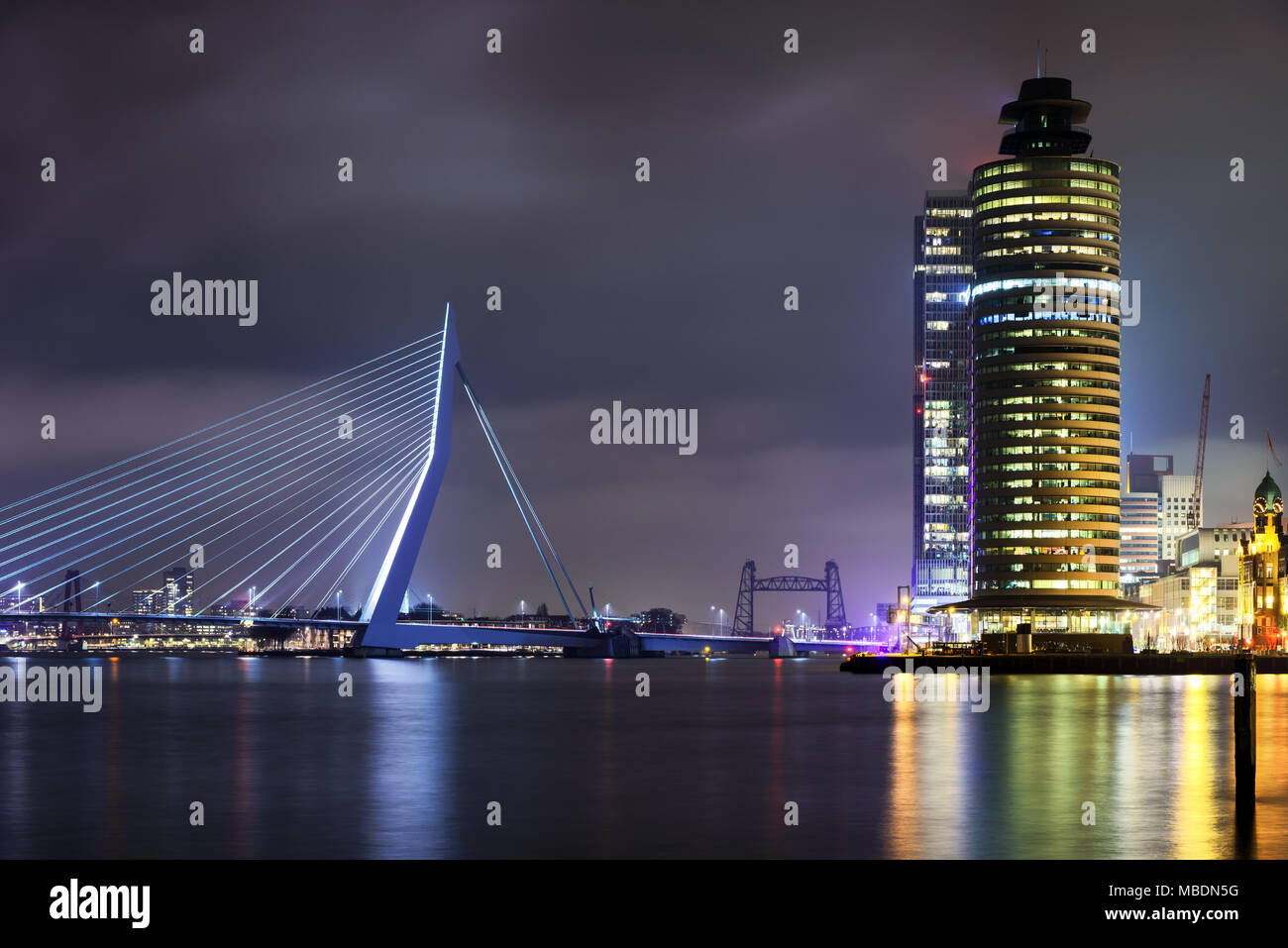 Amazing night view at Erasmus bridge in Rotterdam, Holland. Fascinating modern architecture. - Stock Image