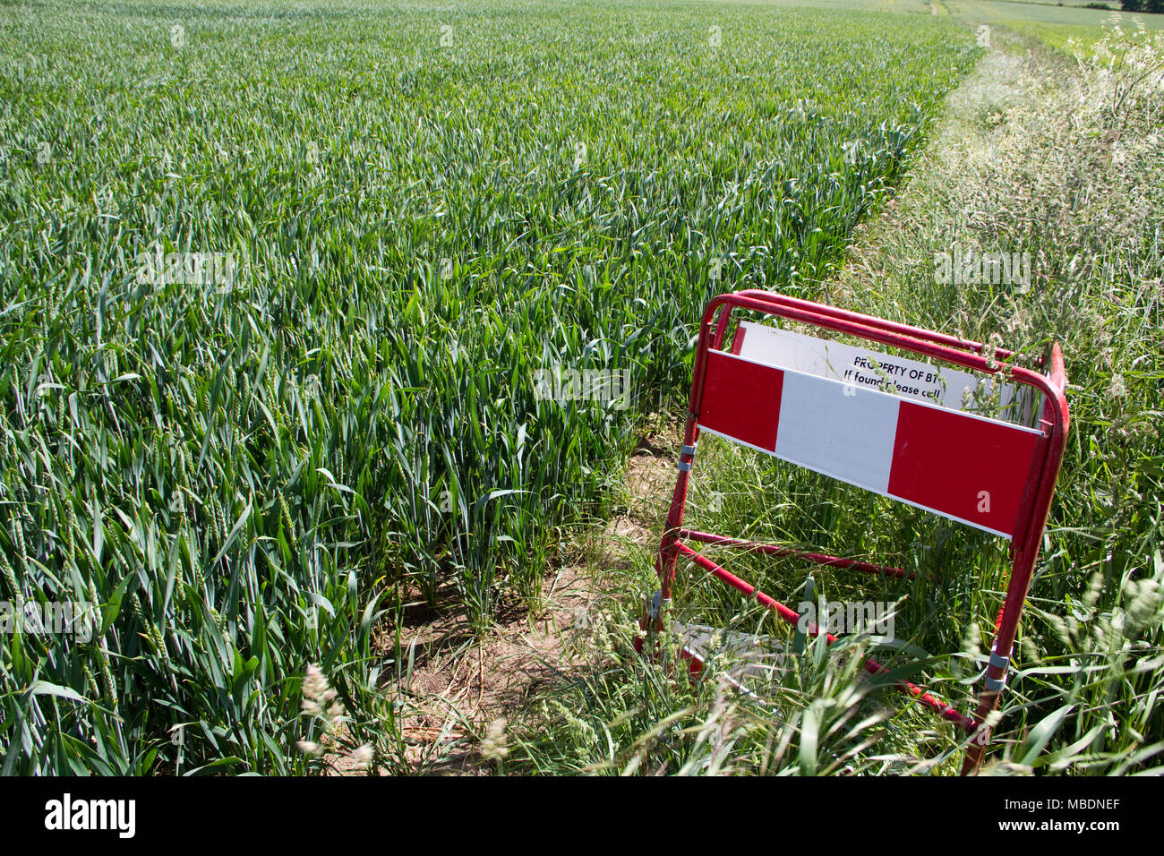 Abandoned and forgotten BT hole in a field - Stock Image