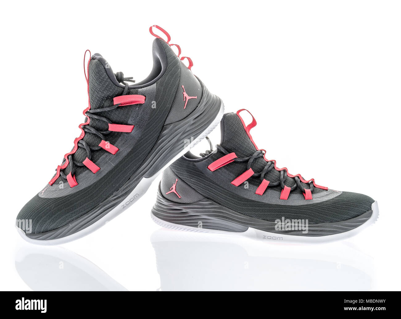 Winneconne, WI - 8 April 2018: A pair of Michael Jordon Nike shoes on