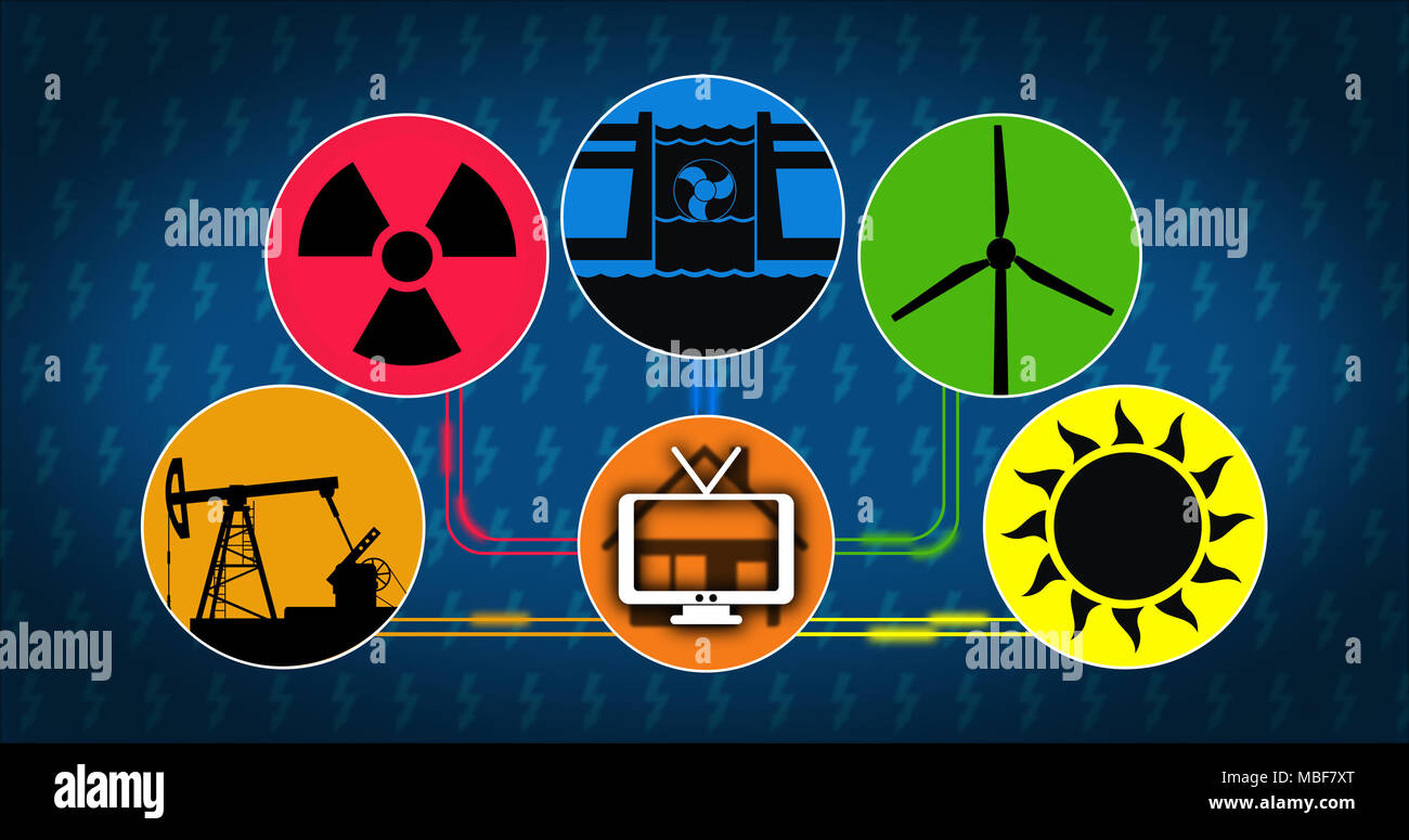 Electricity production and energy consumption concept. Symbols of energy source with icon of solar, wind, hydroelectric, nuclear and fossil fuels tech - Stock Image