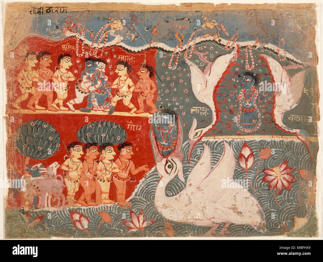 Krishna Kills the Crane Demon - Stock Image