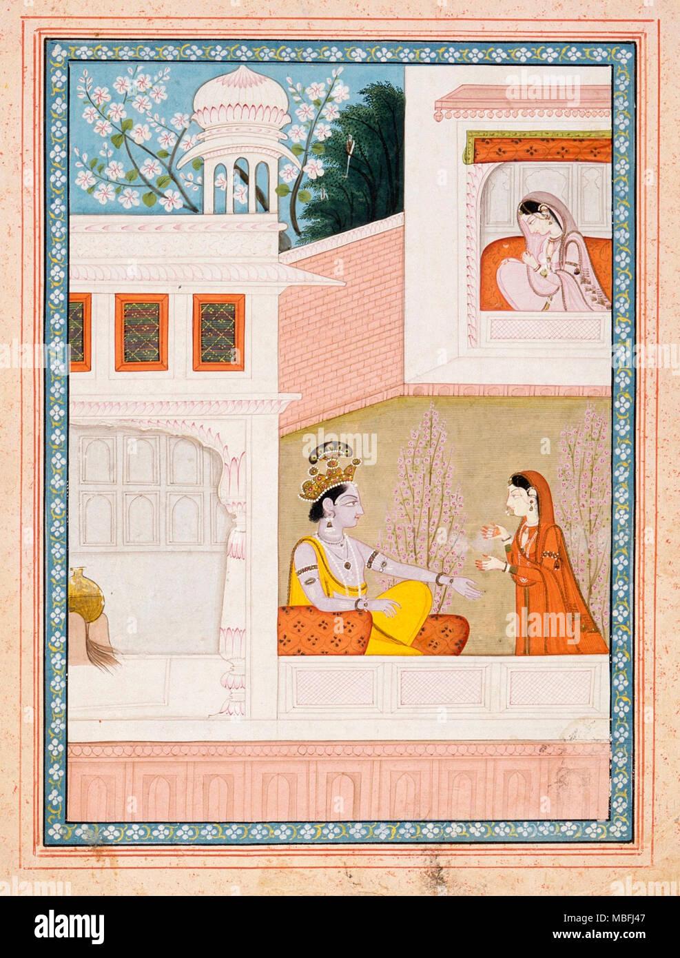 Krishna Talks to Radha's Maidservant - Stock Image