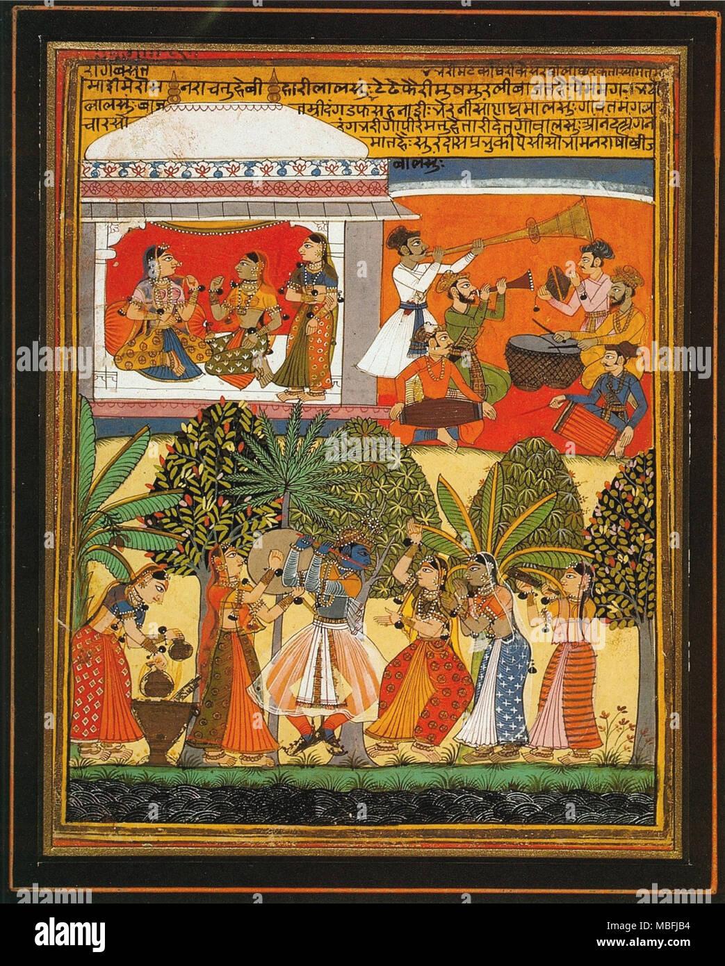 Krishna Dances with the Gopis - Stock Image