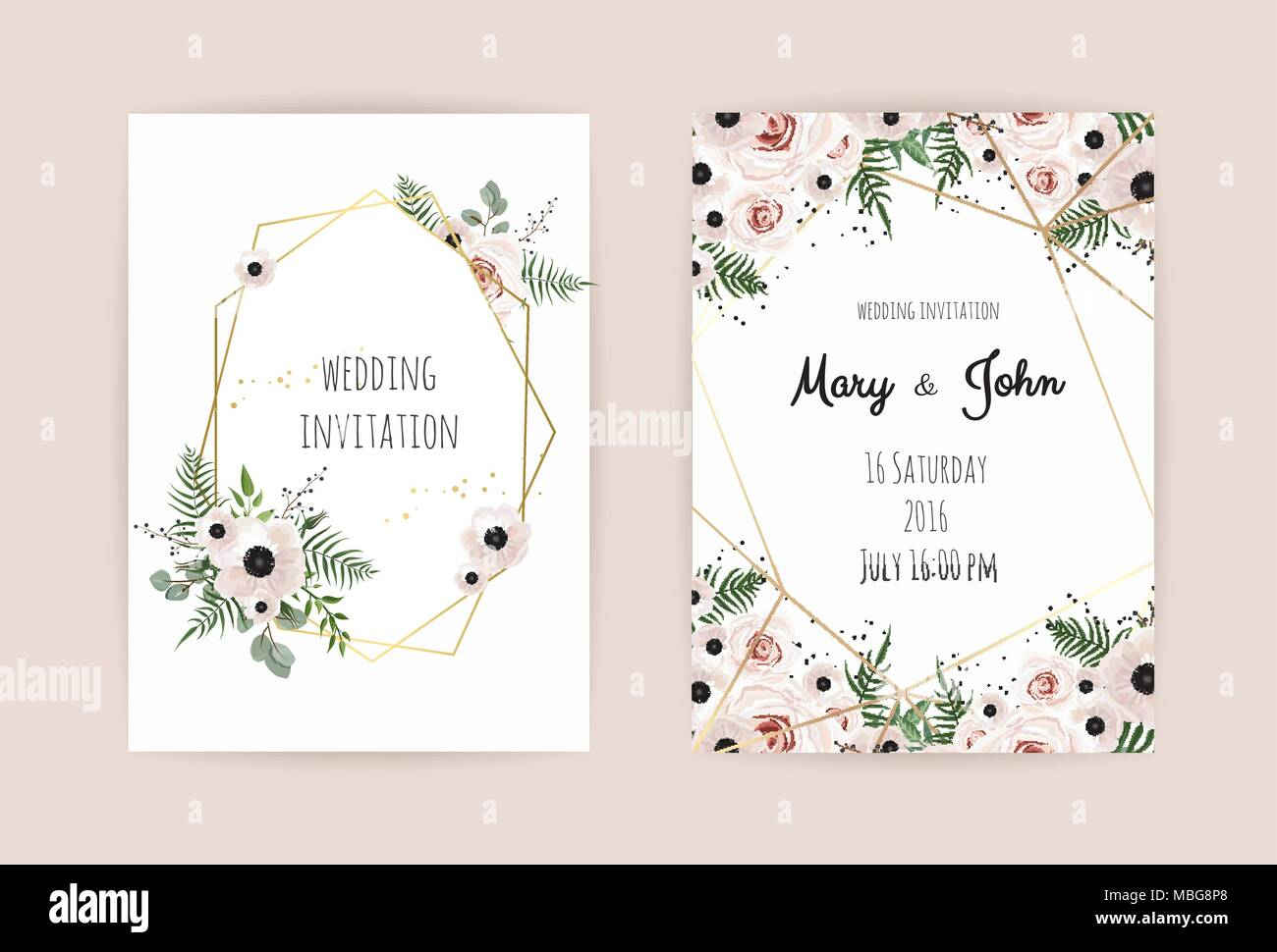 Wedding invite invitation save the date card design with elegant wedding invite invitation save the date card design with elegant pink rose and anemonebranches leaves cute golden geometrical pattern vector temp stopboris Images