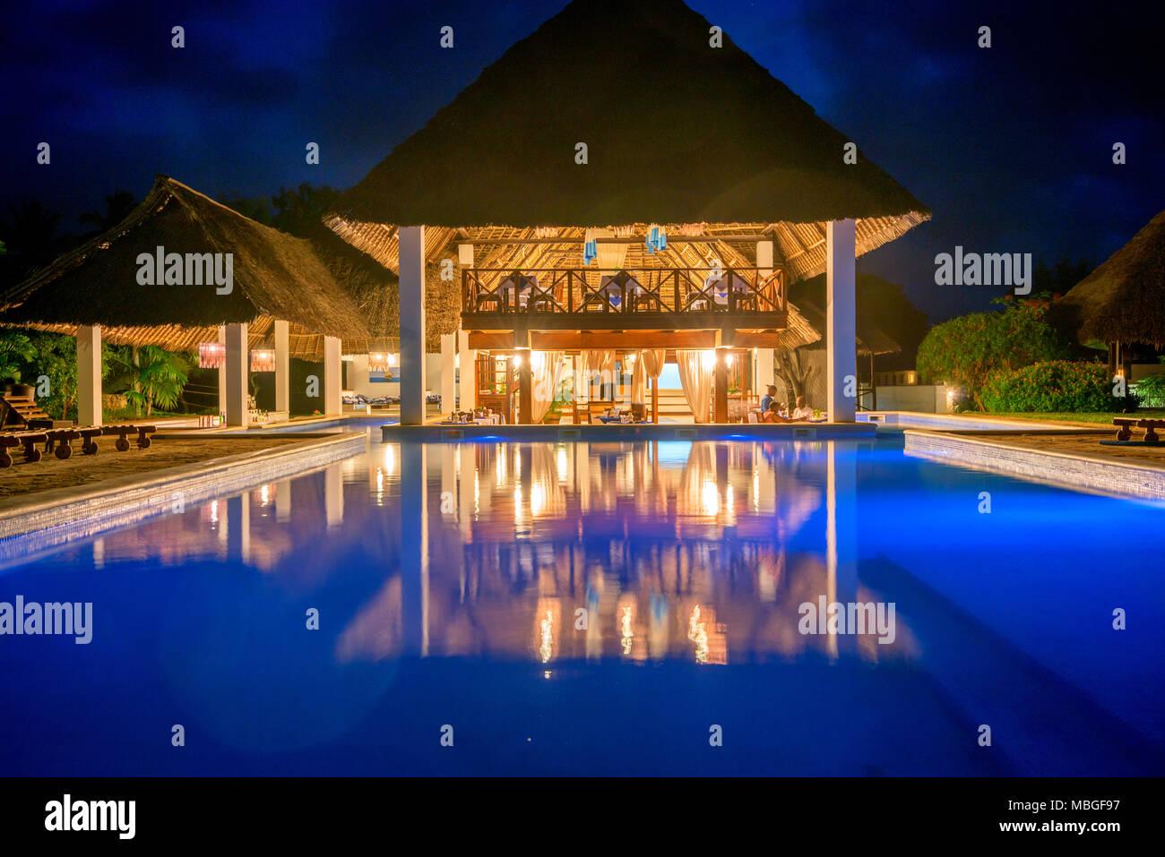 ZANZIBAR, TANZANIA - JANUARY 8, 2015: Pool in tropical hotel Karafuu in Zanzibar - Stock Image