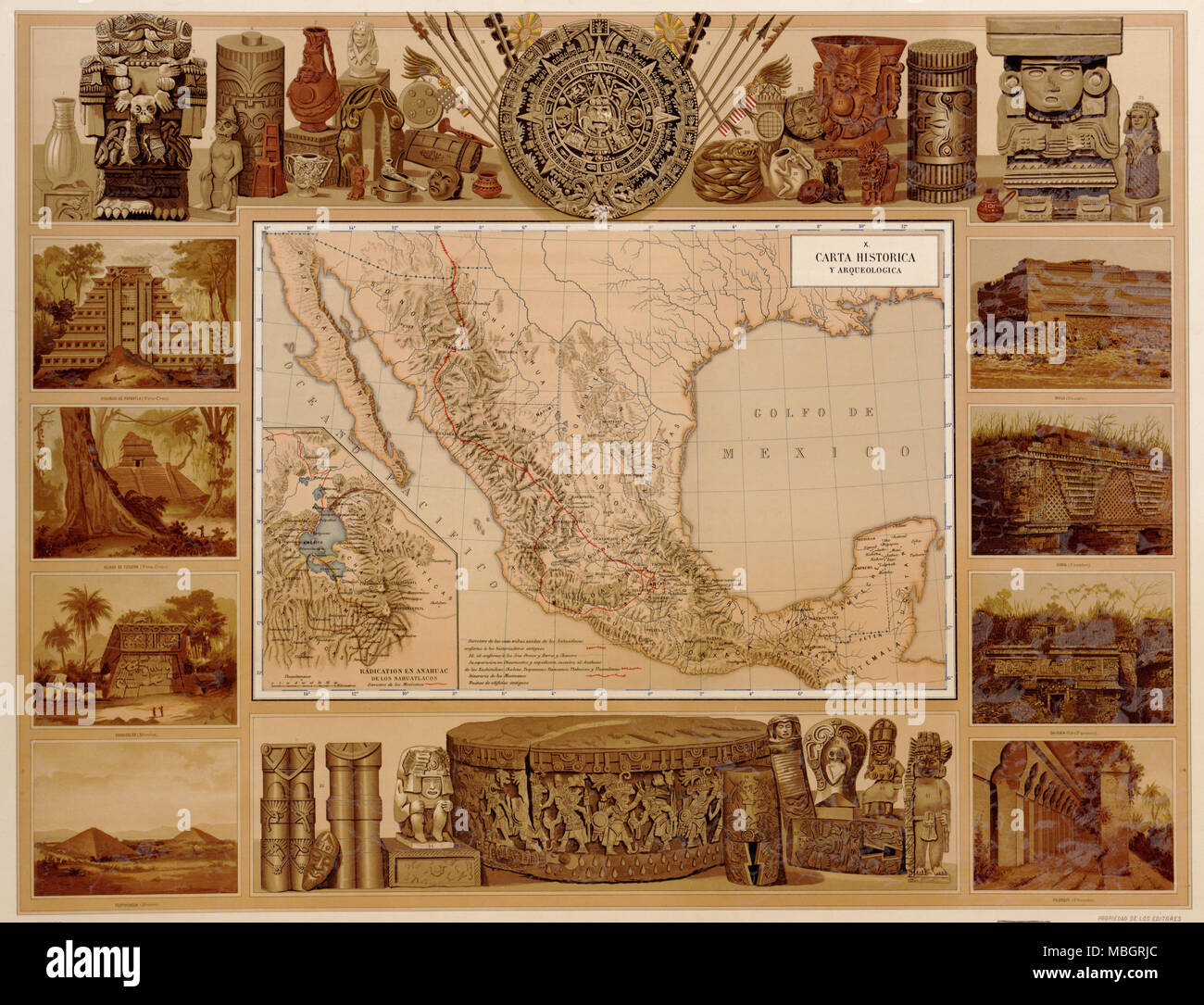 Historical artifacts from Mexico's Indian past - 1885 - Stock Image