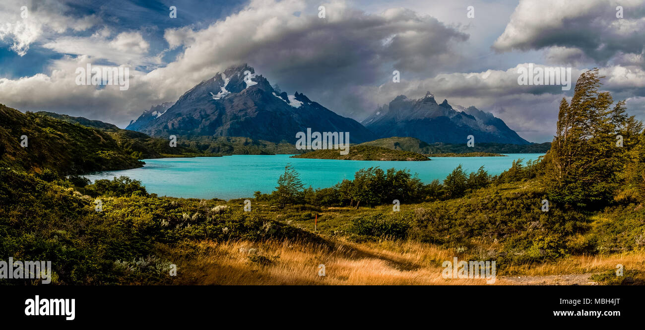 Cuernos del Paine and Paine Grande Panoramic Views - Stock Image