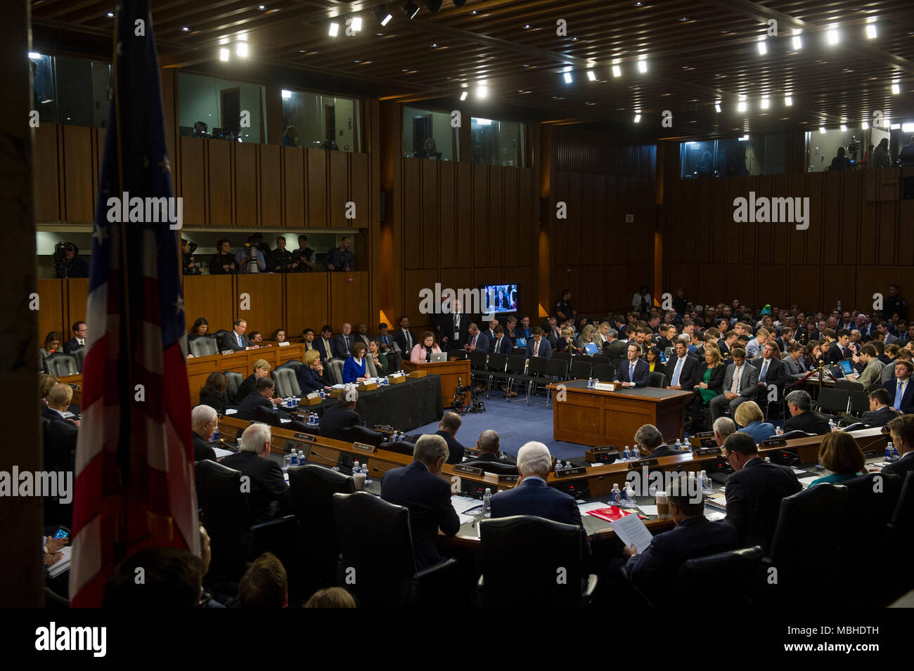 C Washington DC USA 10th April 2018 Facebook CEO Mark Zuckerberg  Testifies Before A Joint Hearing With The Senate Judiciary Committee On Commerce