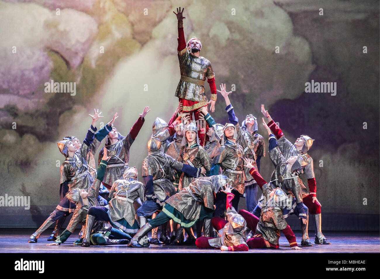 MOSCOW, RUSSIA - APRIL 10, 2018: Ballet dancer Roman Andreikin (top) and young performers in a scene from the performance 'Prince Vladimir the Mighty Sun: Quest for Prince Vladimir', on the New Stage of the Bolshoi Theatre; Credit: ITAR-TASS News Agency/Alamy Live News - Stock Image