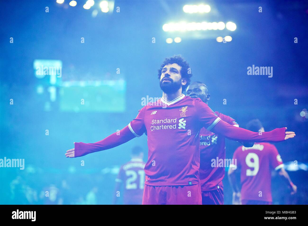 Manchester, UK. 10th Apr, 2018. Liverpool's Mohamed Salah celebrates after scoring during the UEFA Champions League quarterfinal second leg soccer match between Manchester City and Liverpool in Manchester, Britain, on April 10, 2018. Liverpool won 5-1 on aggregate and advanced to the semifinal. Credit: Xinhua/Alamy Live News - Stock Image