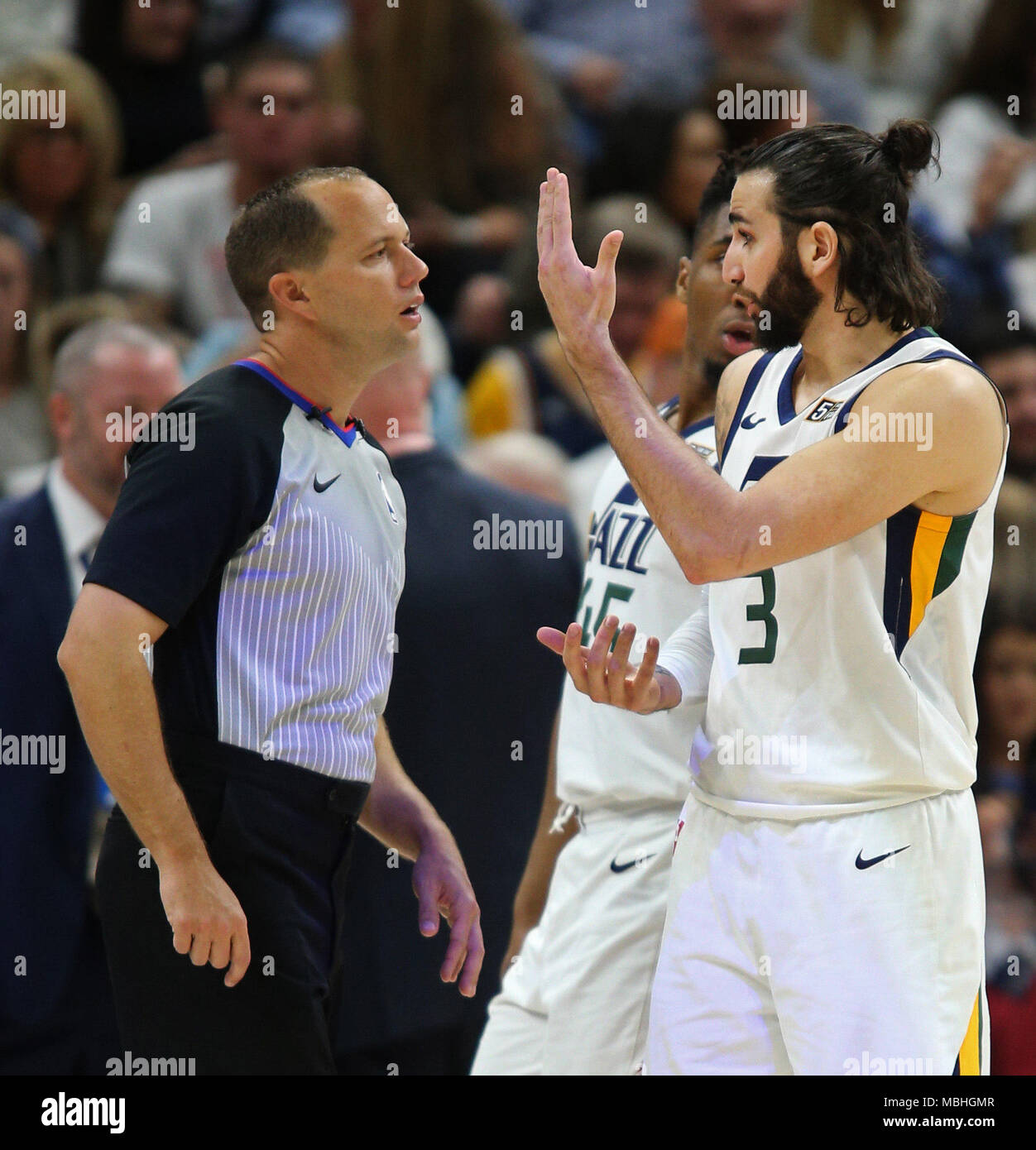 Salt Lake City, USA. 10th Apr, 2018. Utah Jazz guard Ricky Rubio (3) argues a call with referee John Goble (30) during their NBA game at the Energy Solutions Arena, in Salt Lake City, Utah, USA, 10 April 2018. Credit: GEORGE FREY/EFE/Alamy Live News - Stock Image
