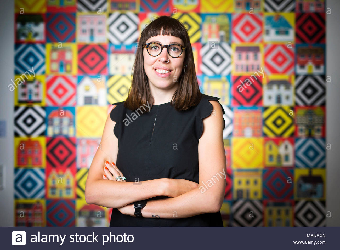 Illustrator Alice Pattullo at the launch of her exhibition 'House & Home' at Yorkshire Sculpture Park - Stock Image