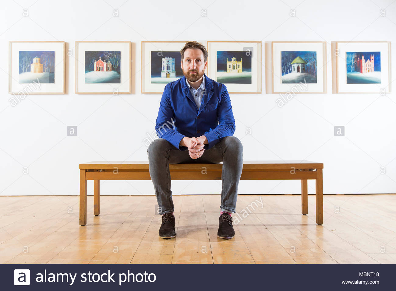 Artist Ed Kluz at the opening of his exhibition 'Folly-fanciful buildings of Britain' at Yorkshire Sculpture Park. - Stock Image