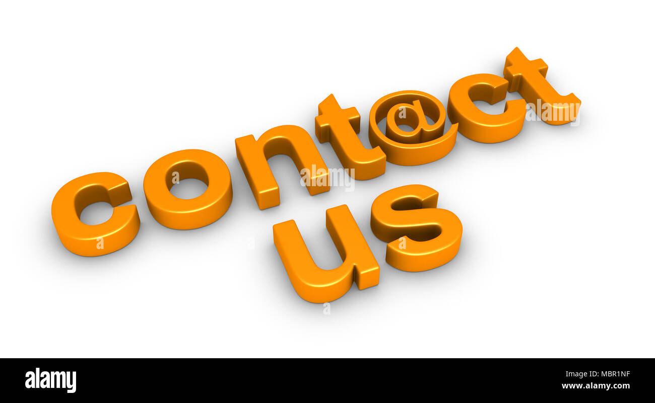 3d Contact Us Word Using E Mail Symbol On The Ground Stock Photo