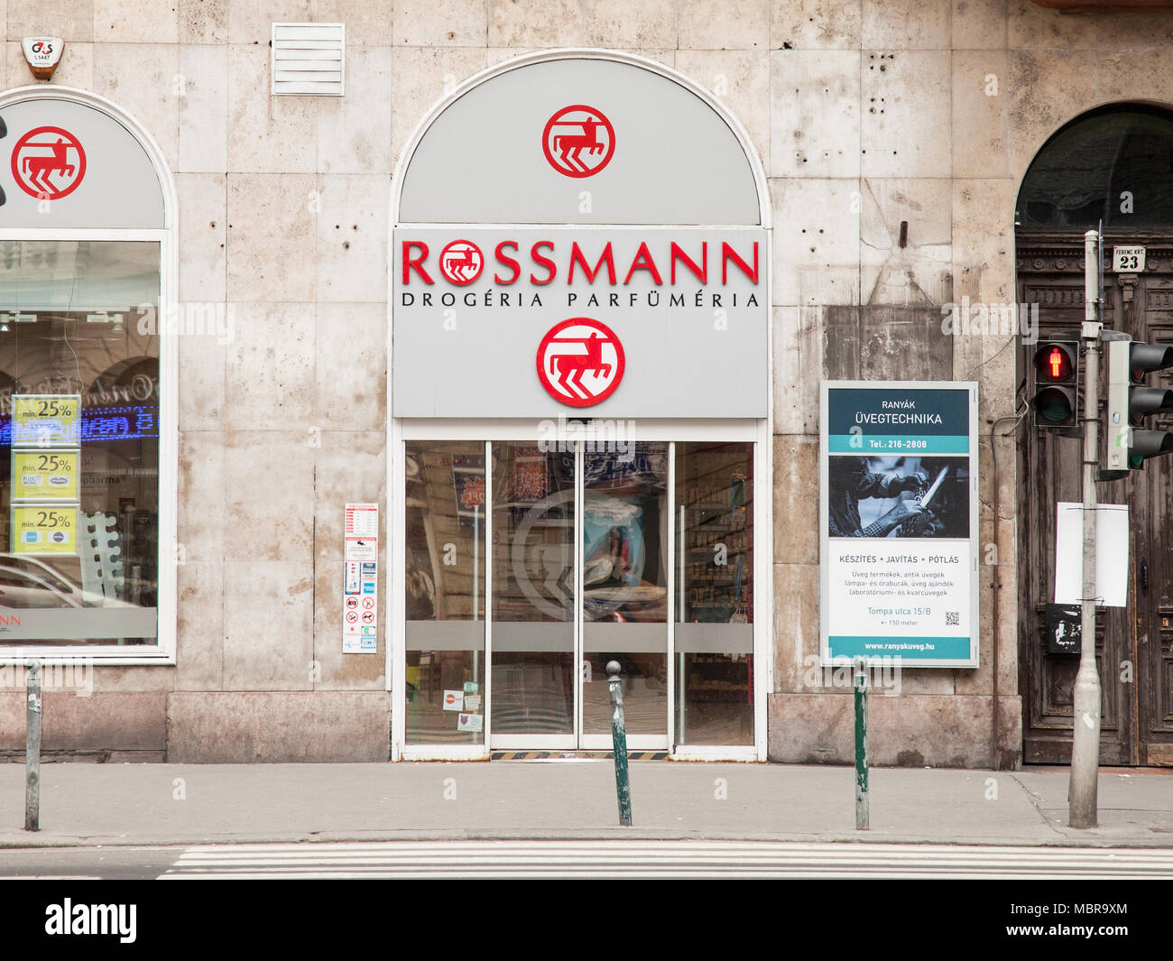 BUDAPEST, HUNGARY - APRIL 7, 2018: Rossmann logo on one of their shops for Hungary. Rossmann is a German Cosmectics and drug store brand developped in - Stock Image