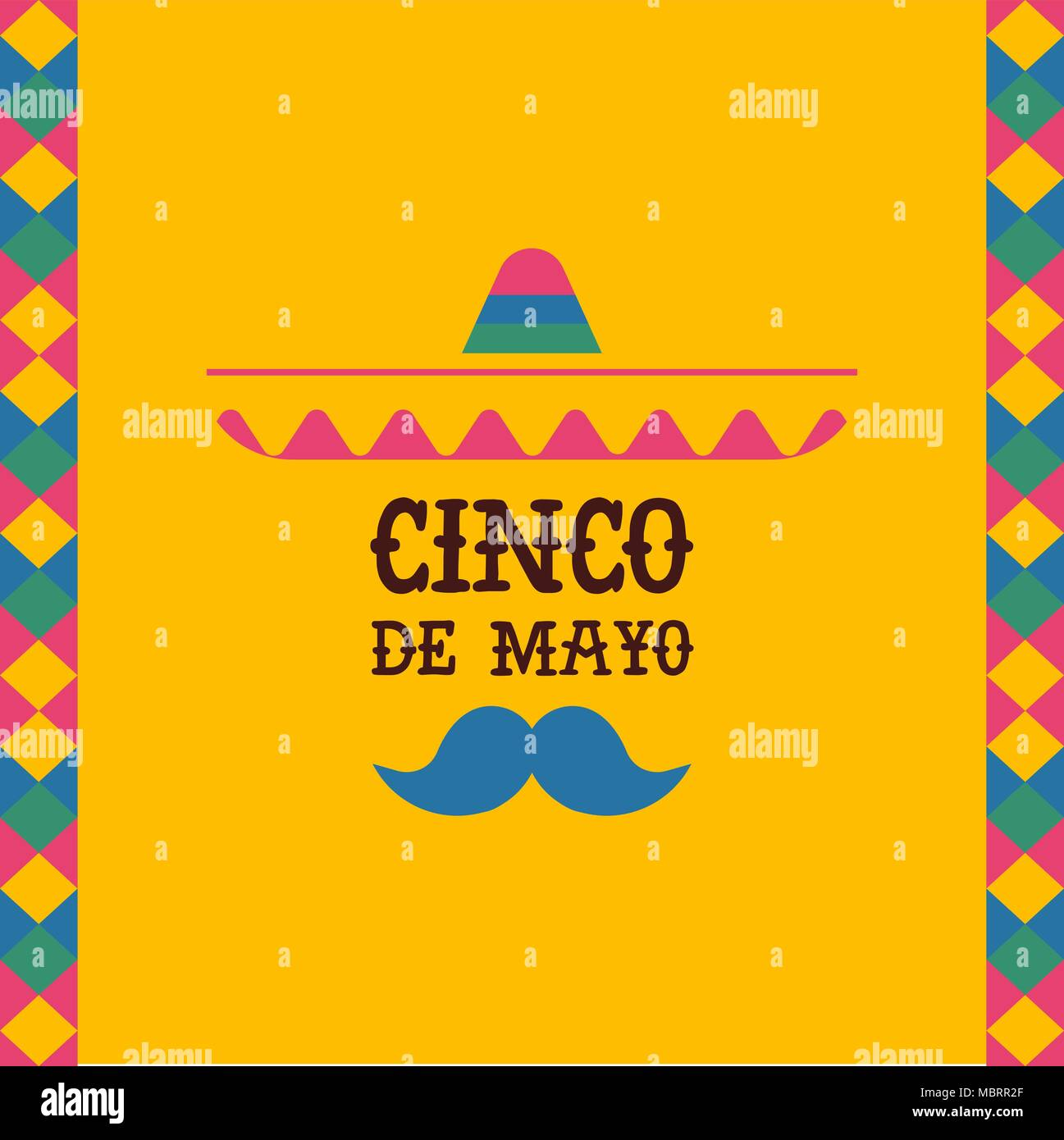 Happy Cinco De Mayo Greeting Card With Mexican Mariachi Singer And