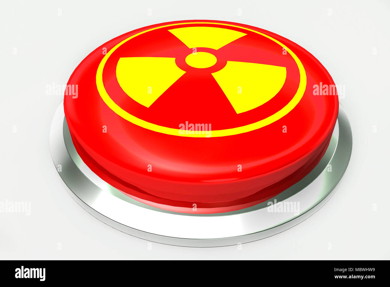 Red nuclear alert button and sign for danger isolated on white background. 3D illustration - Stock Image